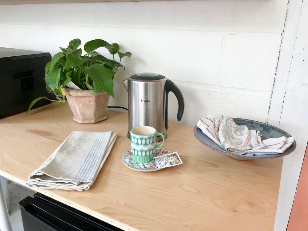 Coffee/tea set up.