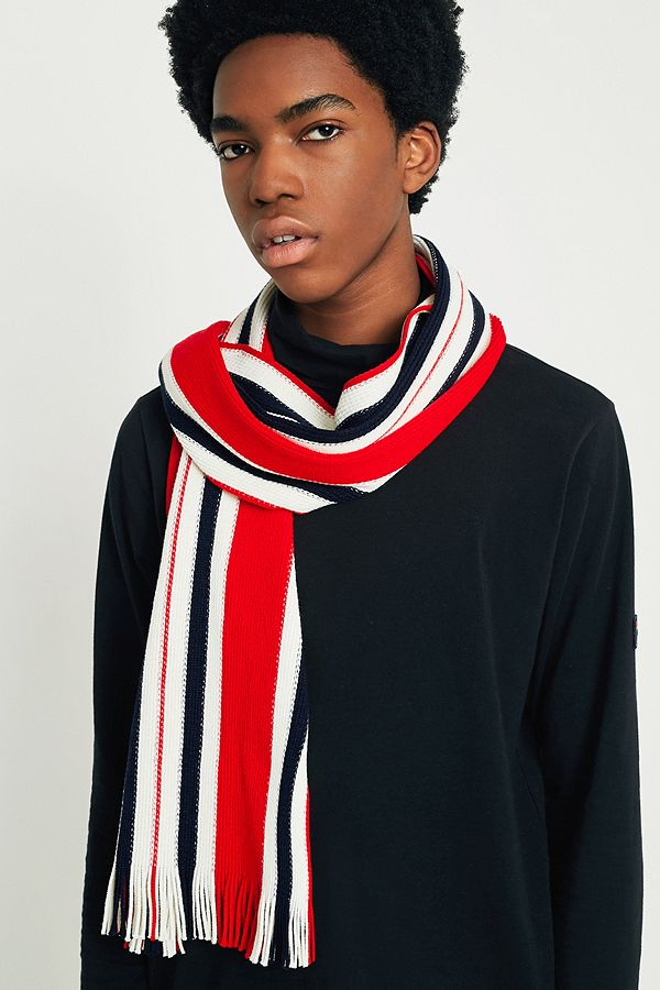 4. the striped one - URBAN OUTFITTERS: UO, Red, White and Nazy Vertical Stripe Scarf, £8An easy way to add a pop of colour to your winter wardrobe, wear this striped scarf with a dark puffer jacket and jeans.