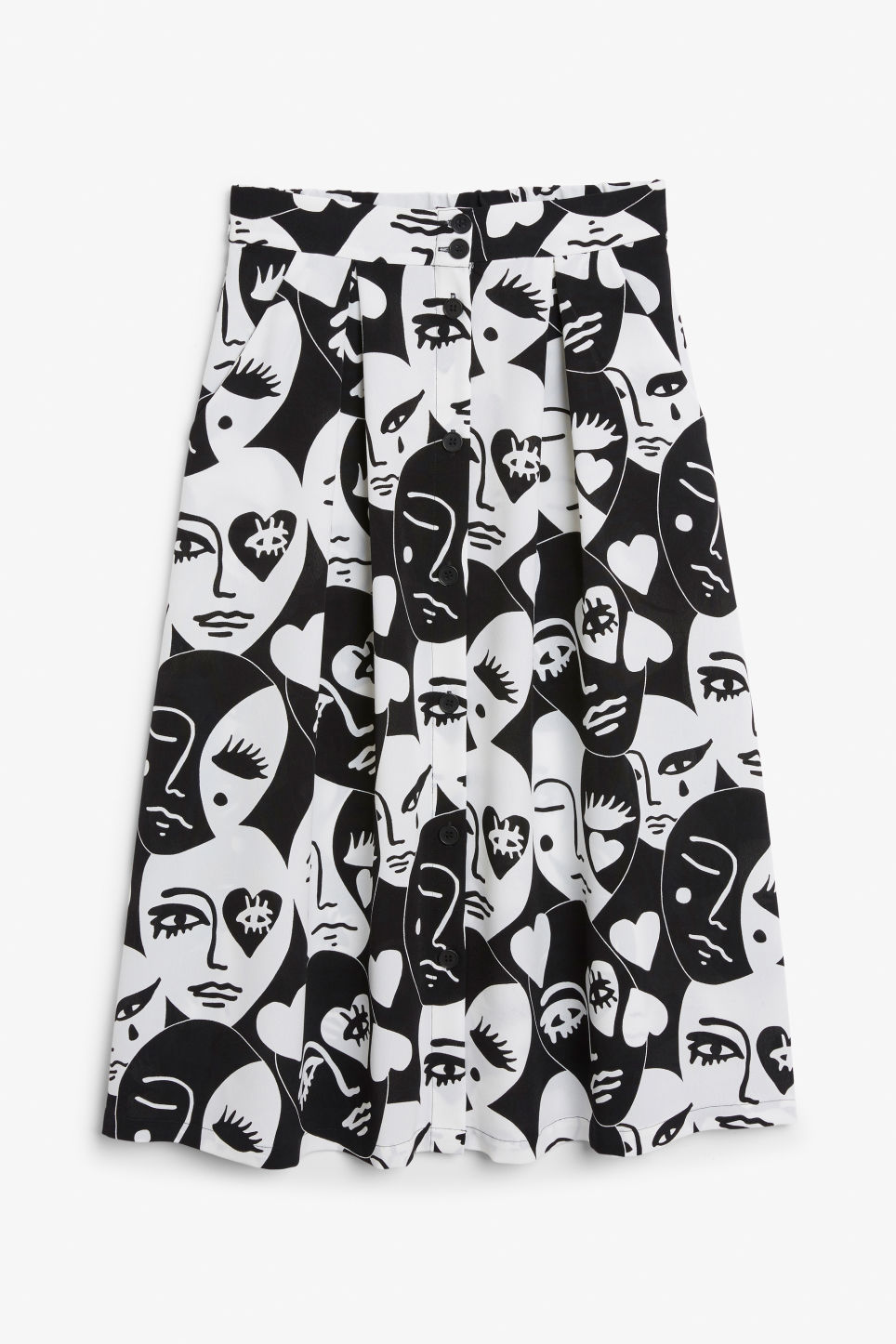 1. the midi skirt - MONKI: Midi Skirt, £25Perfect for both formal and day looks, pair a midi skirt with heeled or flat sandals. We absolutely love this button-down, printed one from Monki; we've chosen the monochrome faces pattern, but they have loads of choices. Bonus: it has pockets!