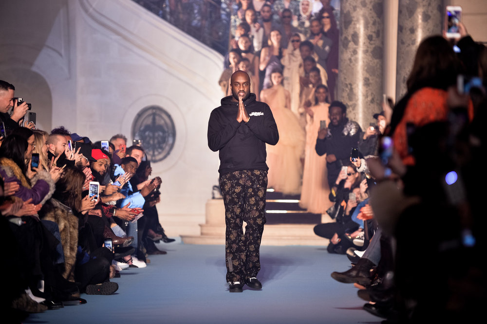 Virgil Abloh at the Off-White show at Paris Fashion Week in March 2018 SOURCE: The New York Times, 26 March 2018
