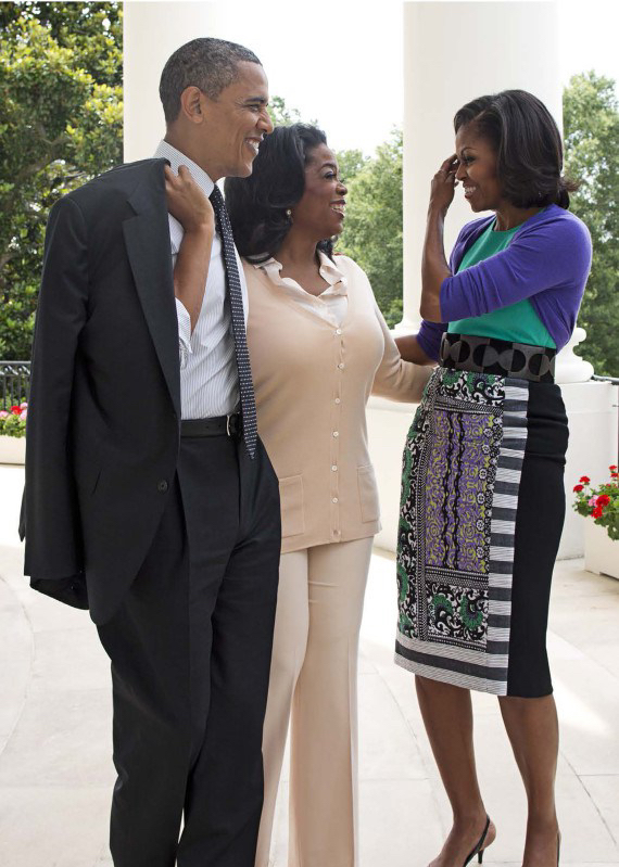 Michelle Obama wearing  ASOS Africa , pictured with Barack Obama and Oprah Winfrey SOURCE:  https://www.huffingtonpost.co.uk/entry/michelle-obama-asos-o-magazine-november-2012_n_2081703