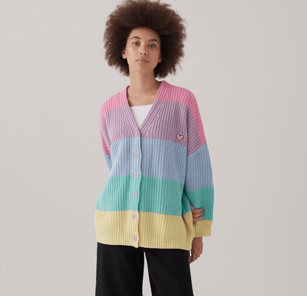 2. The CARDIGAN - LAZY OAF: Pastel Stripe Rainbow Cardigan, £75We absolutely adore this oversized striped cardigan from Lazy Oaf. Keep the rest of the outfit clean and simple to let the cardy do all the work.