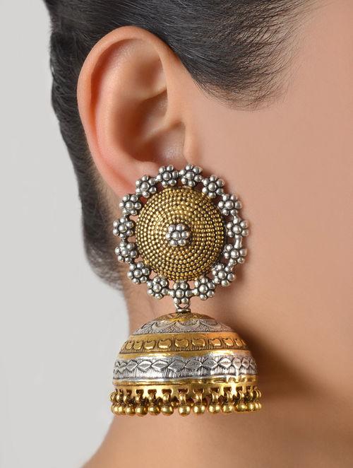 SOURCE:  https://www.jaypore.com/antique-silver-golden-naqqashi-granulated-jhumkas-925-sterling-p18251?eventId=502