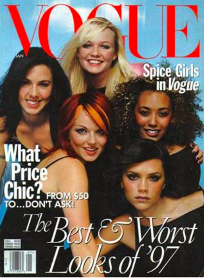 Beckham's first Vogue cover alongside her bandmates in January 1998.  Image credit