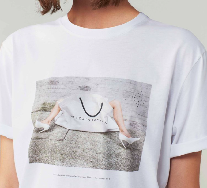 A limited edition white T- Shirt celebrating ten years of Victoria Beckham.  Image credit