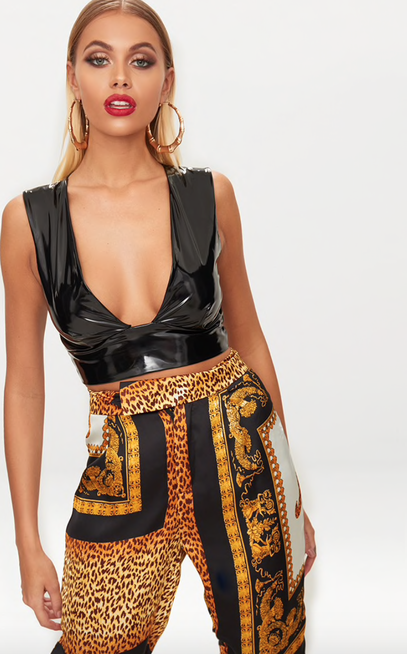 4. the crop top - PRETTYLITTLETHING: Black Vinyl Plunge Crop Top, £15Wear this vinyl crop top with high waisted trousers or with a pencil skirt and heels. This top also comes in pink and burgundy!