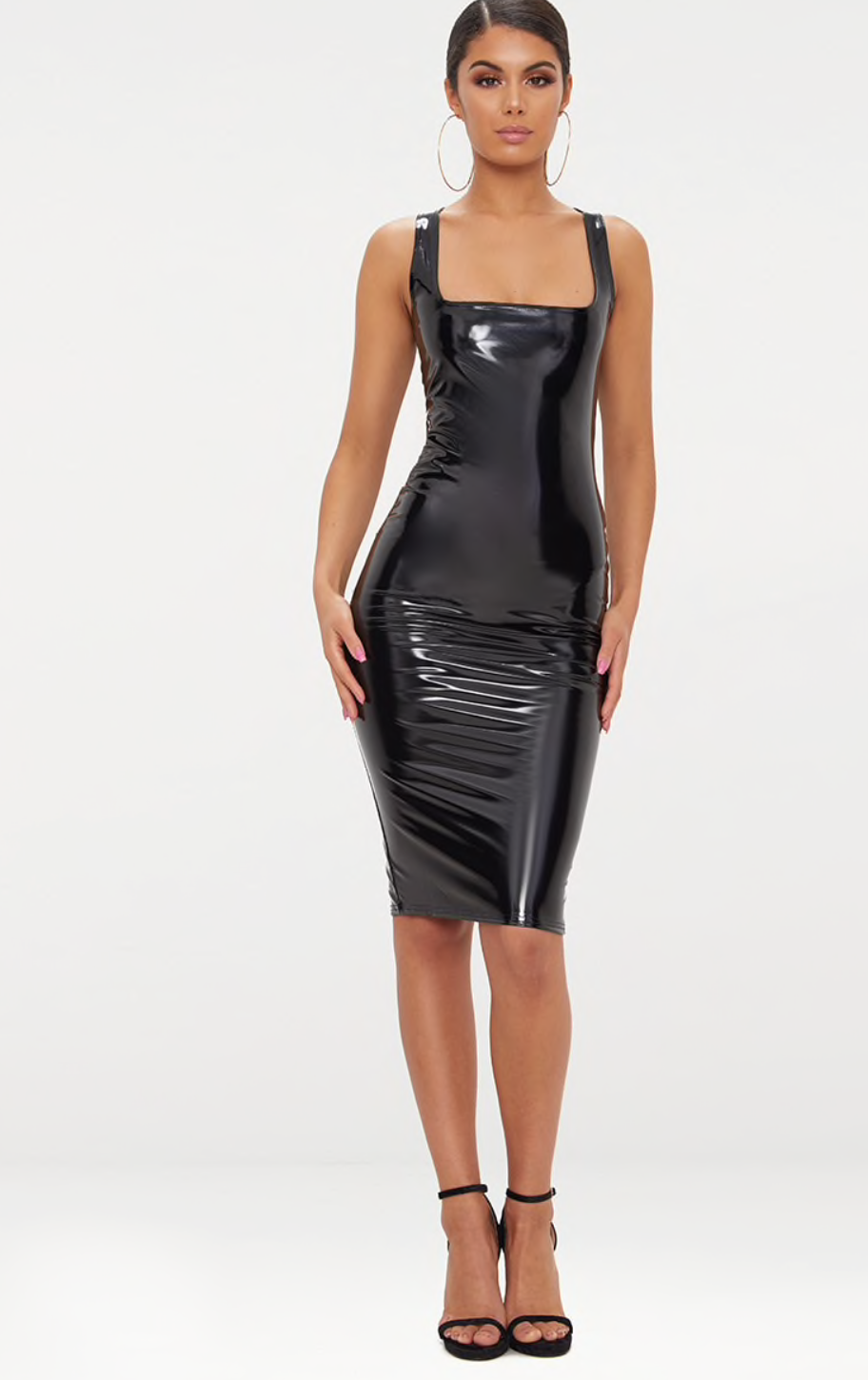 5. the midi dress - PRETTY LITTLE THING: Black Vinyl Square Neck Midi Dress, £20Channel Kim K in this figure hugging black vinyl dress. Pair with skinny stiletto heels and minimal accessories to keep the dress as the focus.