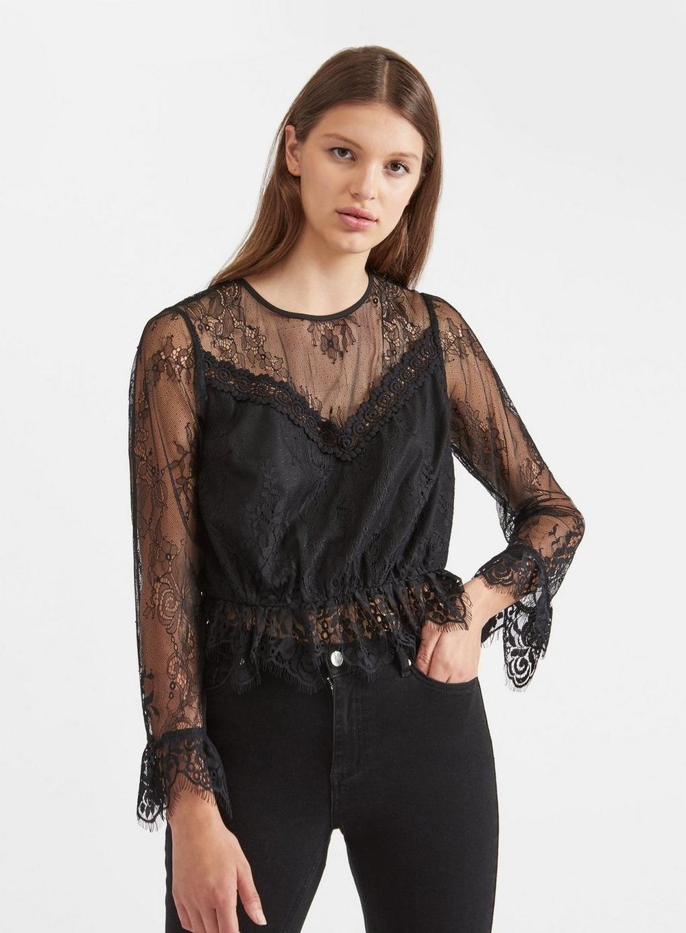 2. THE BLOUSE - The detailing on this slightly sheer blouse gives a touch of the Victorian Gothic whilst still remaining wearable year round.Miss Selfridge £30