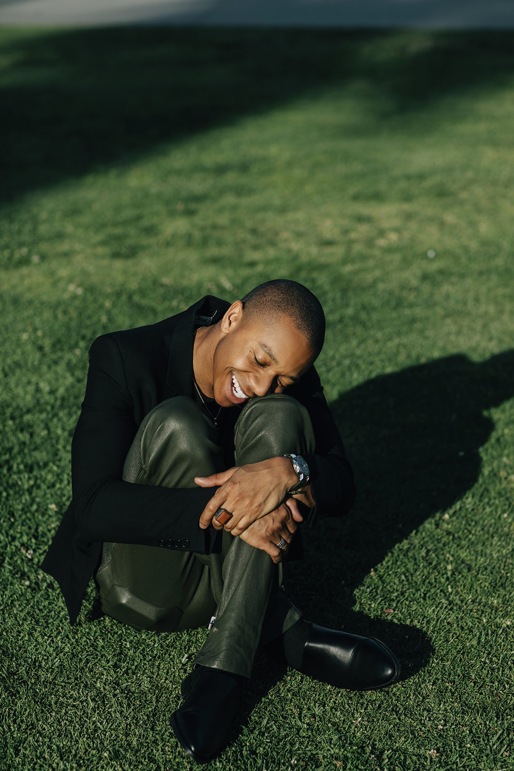 Styling by Ugo Mozie | Photograph by Lloyd Pursall   Jacket - YSL, Trousers - Balmain, Ring - Marco Del Maso