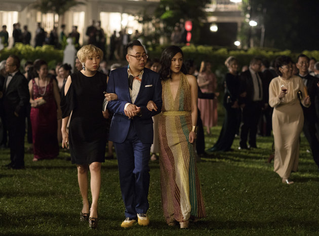 Rachel Chu (Constance Wu) pictured on the right wearing a Missoni dress.   Image Credit