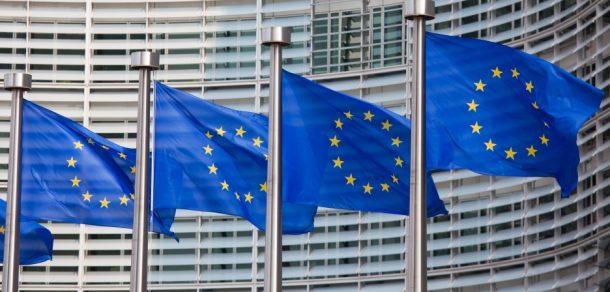 European Union flags flying