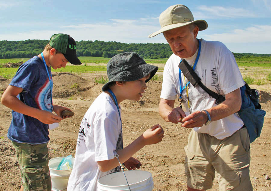 Dr. Merrill Foster with students on a Fossil and Rock Expedition