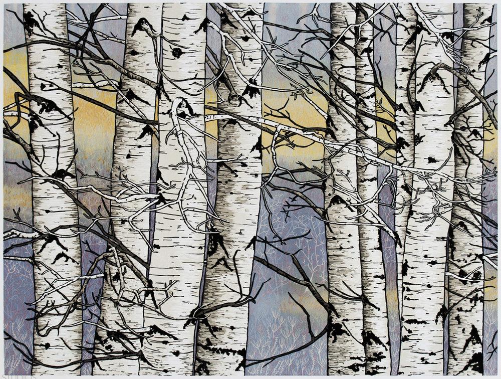 Autumn Aspens - 2-Plate reductive linocut