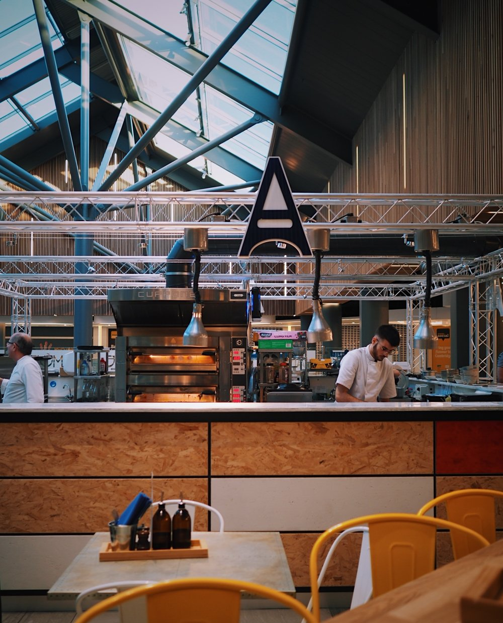 The open kitchen at Amelie Restaurant