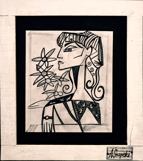 Jacqueline with Flowers & Curls | 23x26 inches