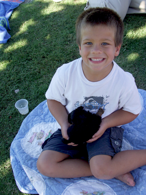 Here's our son Nathan (age 4) holding the puppy, which did not go home with the Cyrus family. Ha ha! (Seaside – October 2006)