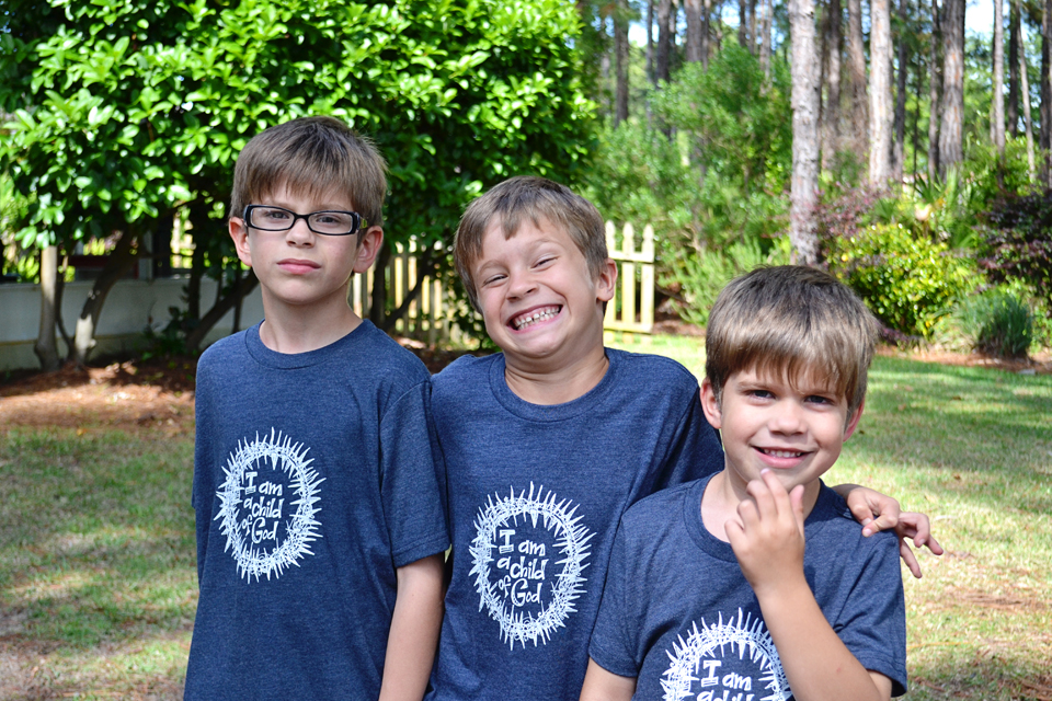 our boys modeling the shirts