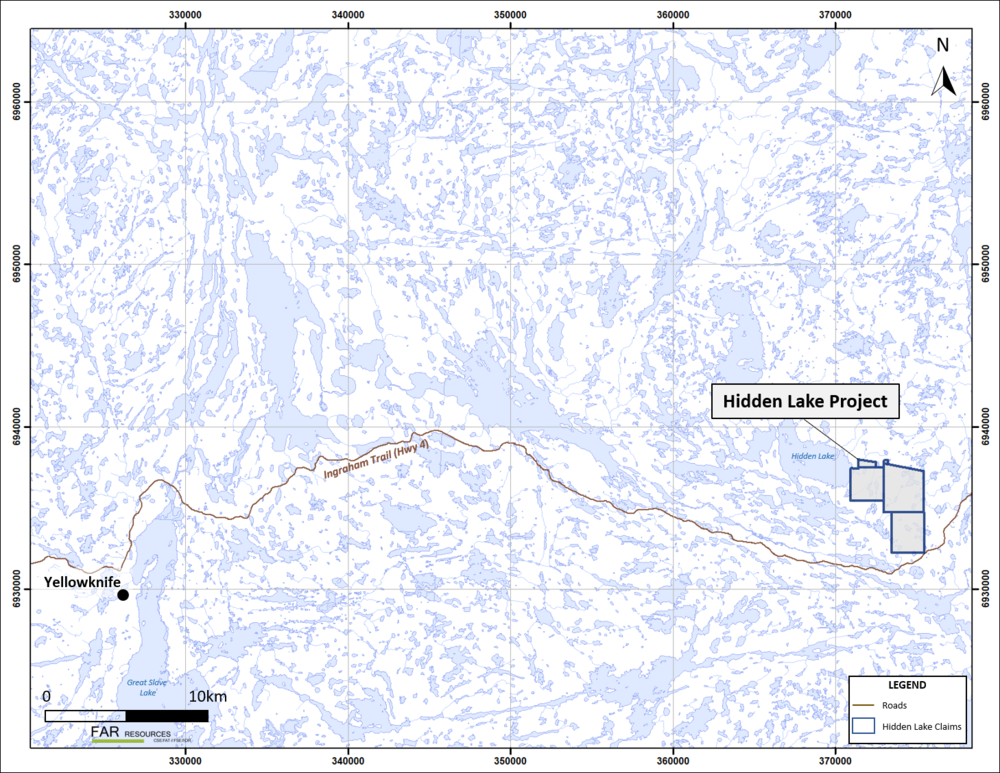 Figure 1. Location map for the Hidden Lake lithium project, NWT.