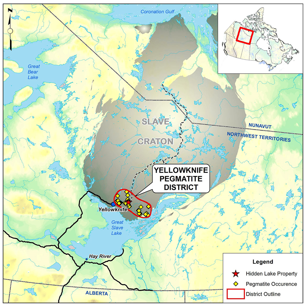 Figure 2. Location map for the Yellowknife pegmatite field.
