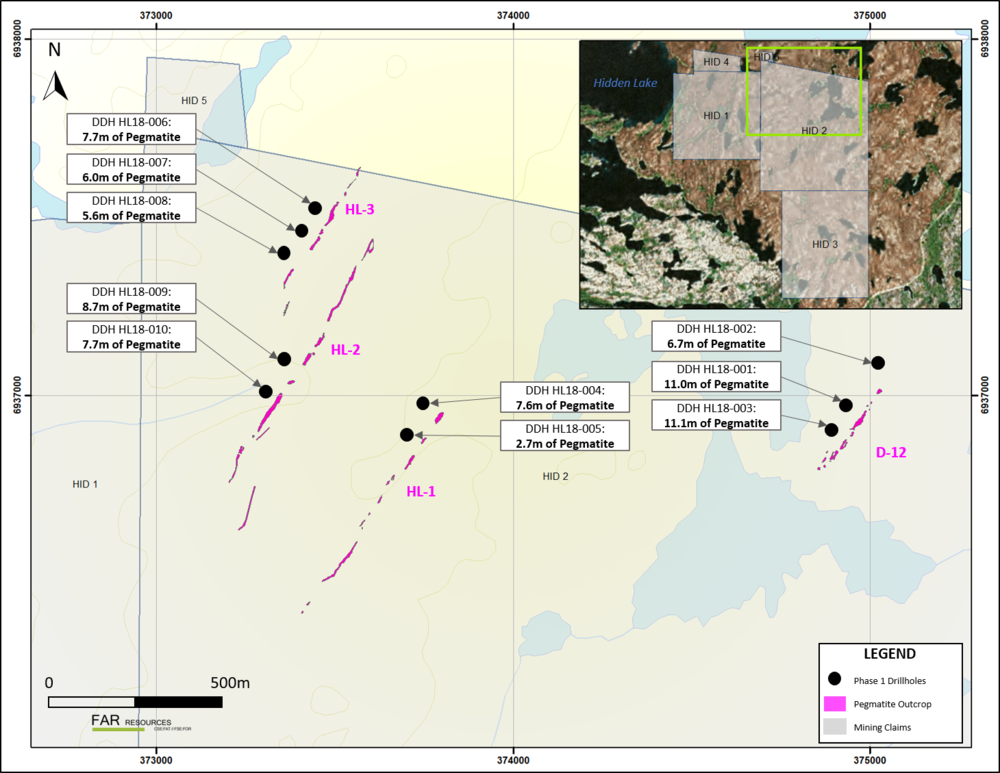 Figure 5. Assay results and pegmatite intercepts from Phase 1 drilling at the Hidden Lake lithium project, NWT.