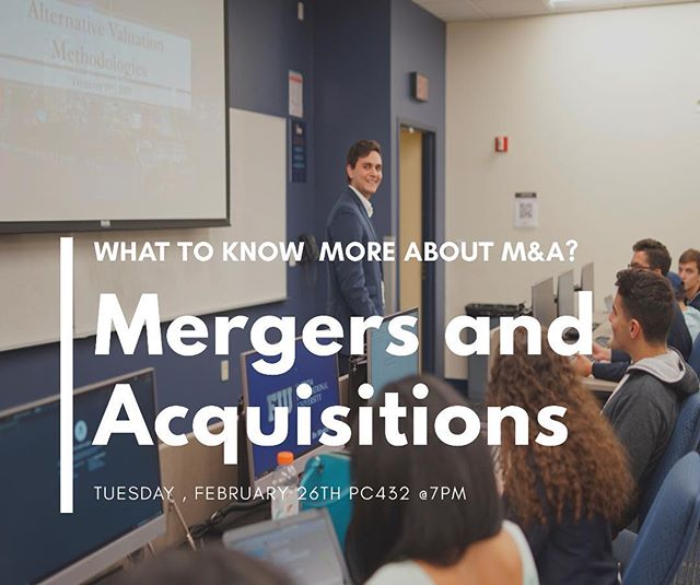 Join us today at 7PM for an awesome lesson. Tonight's topic is Mergers and Acquisitions and as always we will have and interactive financial modeling segment! PC 432 . . #fiubusiness #fiu22 #fiu20 #fiu21 #marketmondays #businessmotivation #collegelife #mondaymotivation #mondaymood #fiuhonors #fiutransfer #fiupanthers #fiu19 #businesswoman #businessman #goals #enterpreneur #entreprenuership #work #life #investing #leadership #business #success #miami #wearefiu #floridainternationaluniversity #morganstanley #mergersandacquisitions #fiu_pif