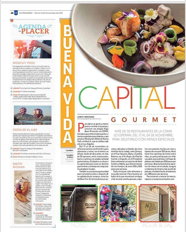 Excelente nota de @buenprovecho_cdmx en el periódico @el_financieromx. Solo cuatro días para que se acabe el primer restaurant week de la Ciudad de México 🇲🇽