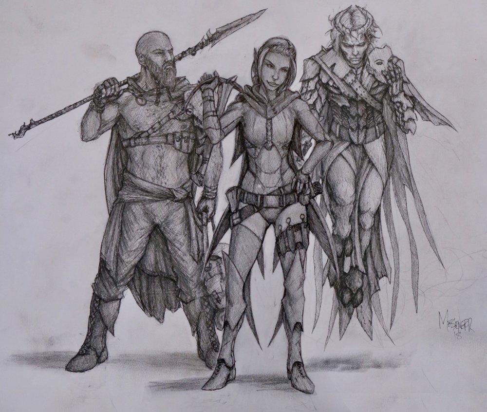 The adventurers- Stone, Vanya, and Xaeryn