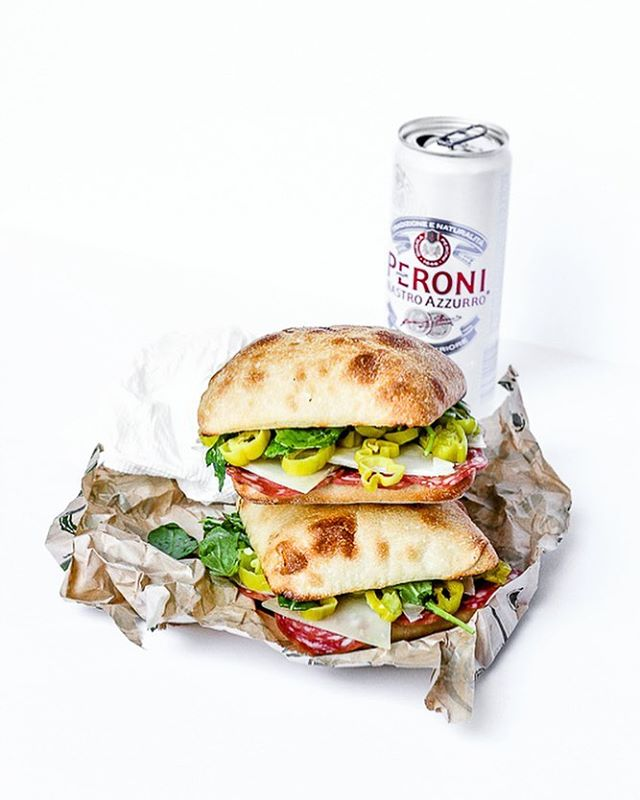 You'd be surprised how many pepperoncini I can eat in one sitting. This is one of my favorite sandwich combinations: Soppressata and Pepperoncini with Pecorino. The recipe is on BrooklynSalt.com, oh and be sure to check out my new website DorieColangelo.com. #peroni #peronibeer @peroniusa @peroninastroazzurro #soppressata #pepperoncini #sandwich #sammies #foodphotography #foodphotographer #foodblogger #foodblogging #foodstyling #foodstylist