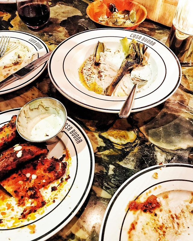 Grilled Artichoke with Garlic Labneh, Spicy Potatoes Diavola with Ranch, Smokey Mozzarella Sticks, Buffalo Chicken Pizza....way too full now.