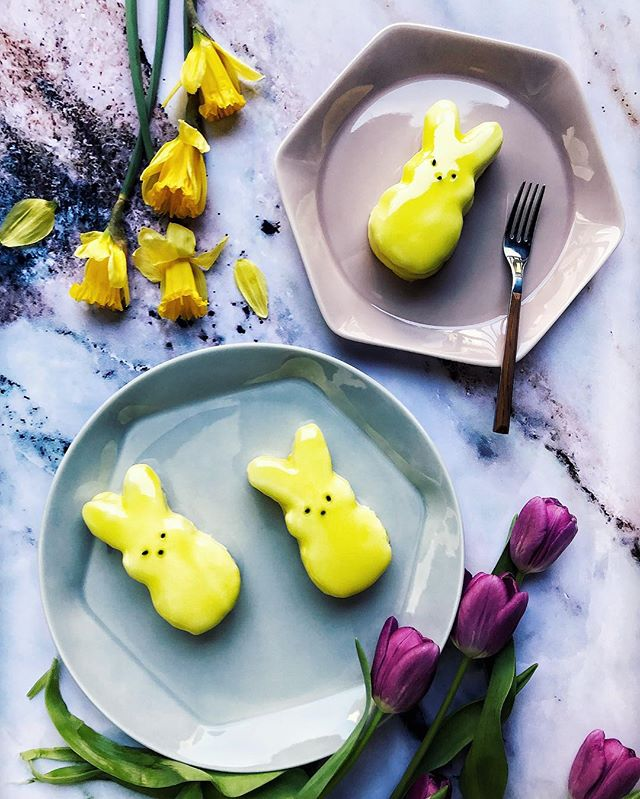 Since I'm an adult w/ no kids, I'd feel silly coloring eggs by myself for Easter, but felt totally fine making these lemon pound cake peep cakes with vanilla frosting and yellow mirror glaze. #peeps #peepcakes #easter #eastertreats #marshmallow #april #springtime #cakes #eastercake #mirrorglaze #foodstyling #foodstylist