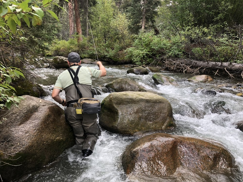 Charles Boinske fishing a MT Mountain stream. A heavier slotted tungsten bead was the only weight adjustment needed to begin catching fish.