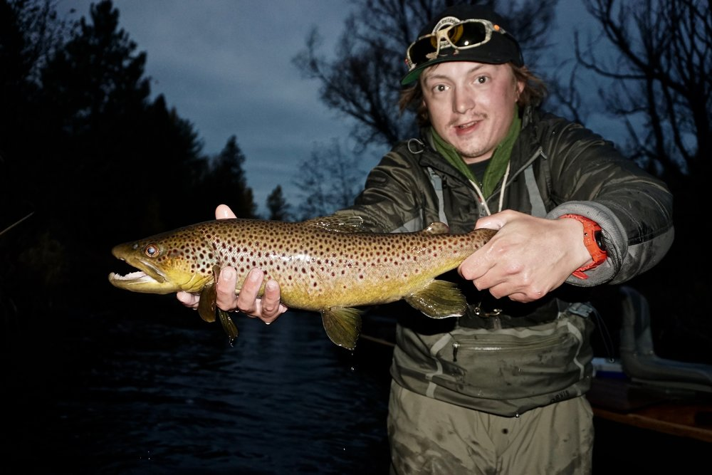 "Jordan Klemish, (Guide at Gate Lodge, MI) holds a trophy brown trout taken on a small stream. The result of ""letting the line fish the fly."""