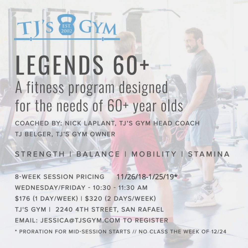 Our LEGENDS program has been a huge success! The current session runs through Friday, November 16th, and then we will break for Thanksgiving. The flyer above has the info for our next session. Please help us spread the good word; our hope is to get these classes at all three locations and at multiple times. We'd like to get as many 60+ year-olds in Marin moving as possible! Athletes can join at any time, since we pro-rate.