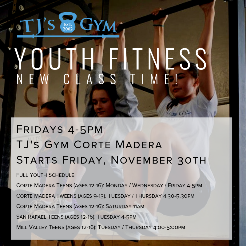Due to the popularity of our teen classes in Corte Madera, we're adding Fridays at 4:00. Register now, and spread the good word!    *Starts November 30th.