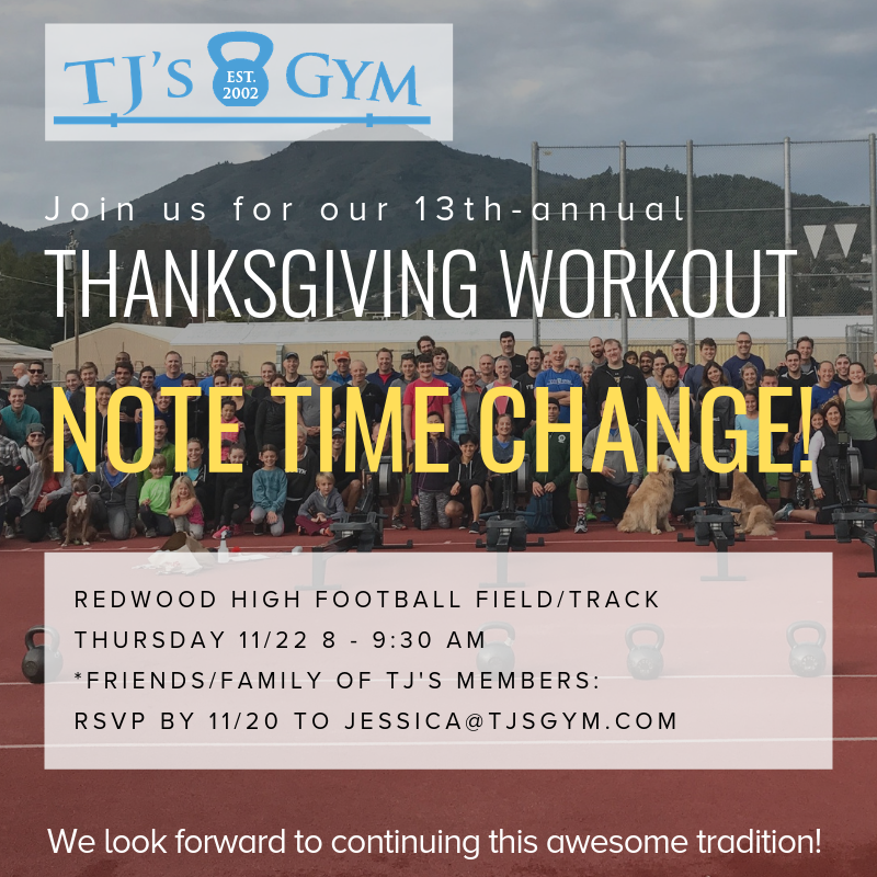 This is our favorite workout every year! We hope to see you all out there on Thanksgiving morning!    Waiver link -   https://www.waiverking.com/linkpage/TJsGym