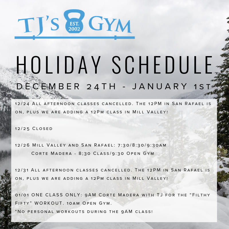 Please note the changes to our class schedules surrounding Christmas and New Year's.