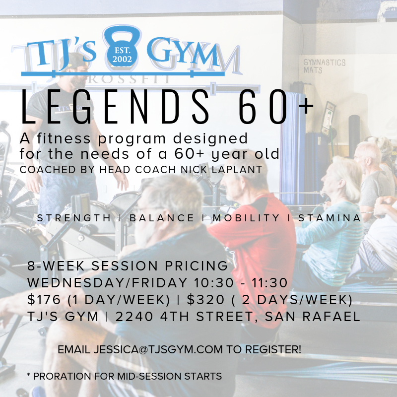 We'd like to get as many 60+ year-olds in Marin moving as possible! Athletes can join at any time; we pro-rate based on start days.