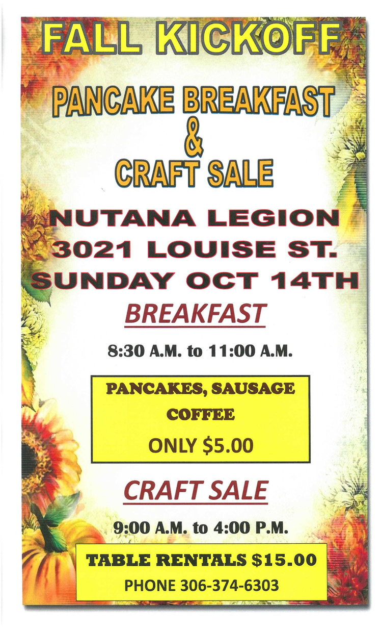 Fall Pancake Breakfast Craft Sale Royal Canadian Legion 362