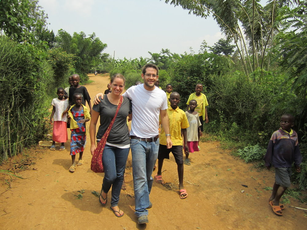 Kate Loose (left) and Saul Garlick (right) in Rwanda.