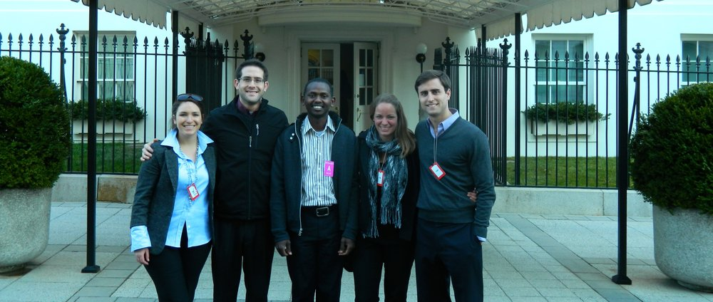 From left to right: Jessica Morse, Saul Garlick, Abdallah Mohamed, Kate Loose, Patrick Keane at the White House.