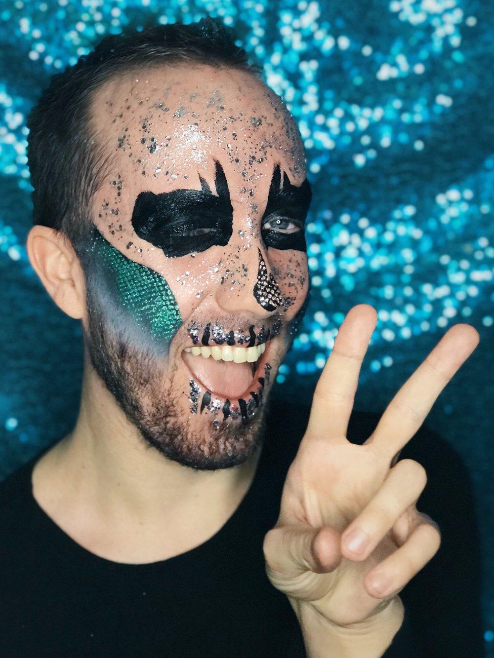 Biodegradable eco glitter skull Halloween dress up make up inspiration Brighton 2018