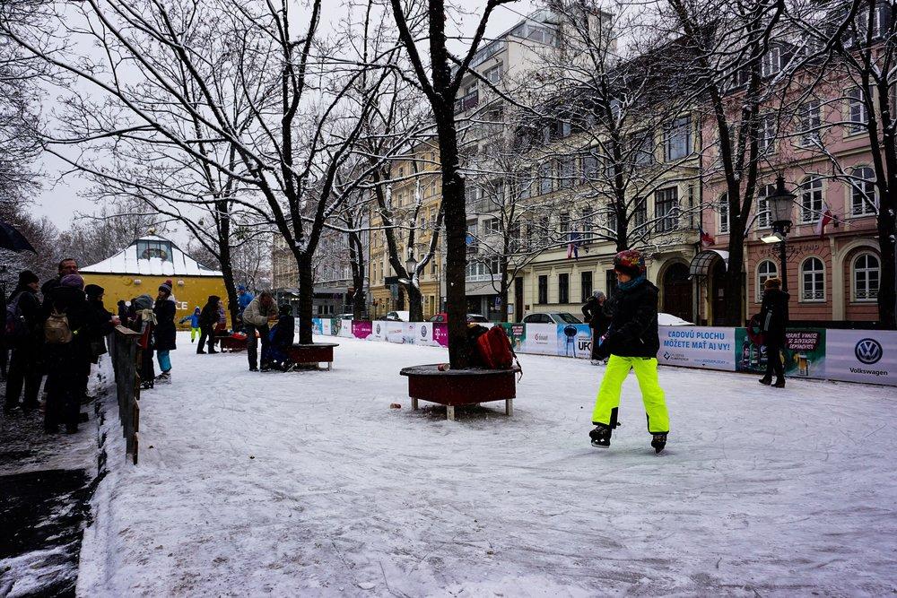 Kids enjoying the ice skating rink on Hviezdoslavovo