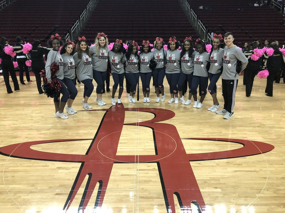 The cheer leading team performs at the Toyota Center, as the Rockets continue their winning ways thos season.(Cheer)