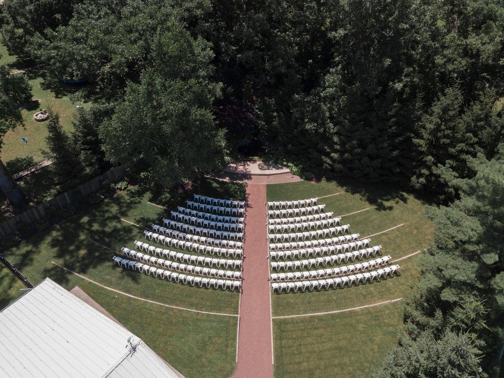 Aerial drone photo of wedding at williams tree farm in rockton, illinois.