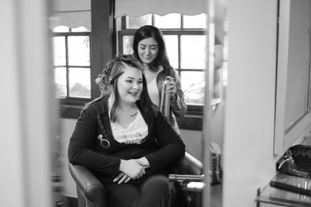bride laughing and getting ready at at the pavilion at orchard ridge farms in rockton, illinois