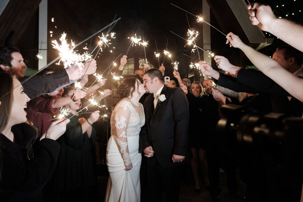 Sparkler exit for bride and groom at the pavilion at orchard ridge farms in rockton, illinois