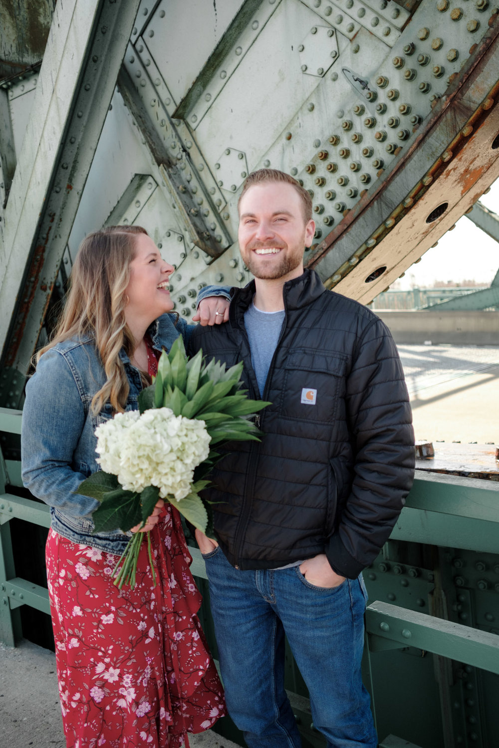 Engagement photos in downtown Joliet along the river