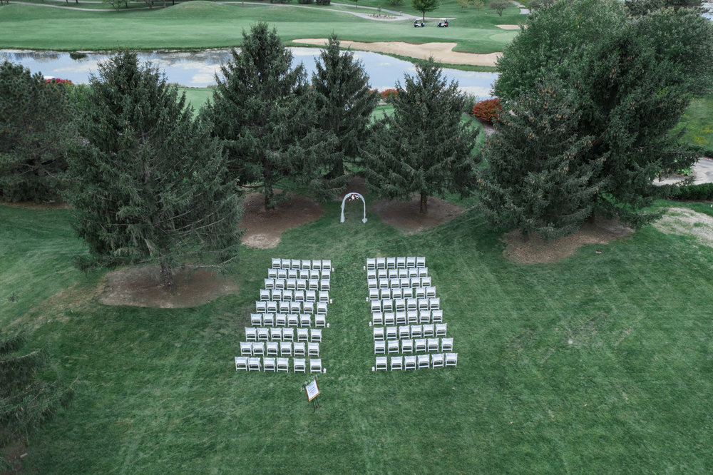 Aerial outdoor drone photo of ceremony space at Rockford Bank and Trust Pavilion.