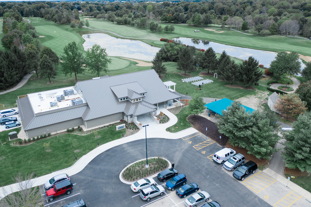 DJI Mavic Pro 2 drone photo of pavilion and ceremony site at Rockford Bank and Trust Pavilion.