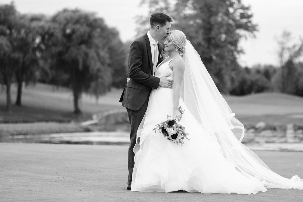 Bride and groom portrait at Rockford Bank and Trust Pavilion.
